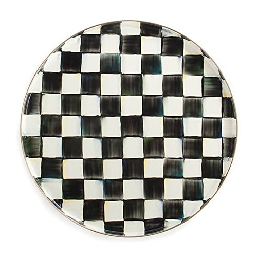 (Serving Round Tray- Stainless Steel Black and White Courtly Check Enamel Hand Printed Round Tray by MacKenzie-Childs)