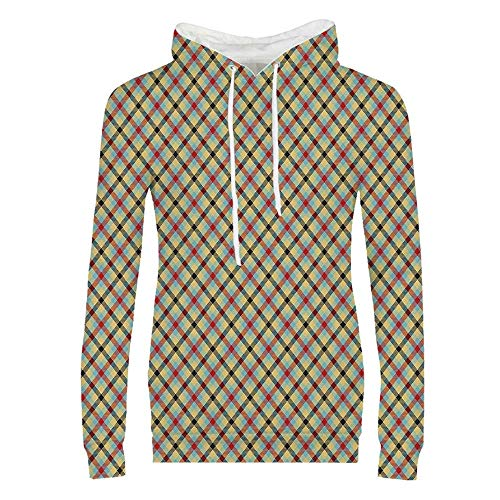 (Geometric Decor Durable Hoodies,Classic Print with Stripes Squares Abstract Line with Crossing Colors Image for Women,M)