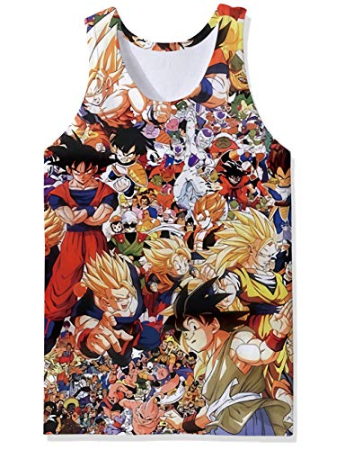 Trendy Sports Gym Trainer Tank Tops Multi Color Hero Theme Dragon Ball Z Thewy Boys Man Cool Designs Extended Vest Undershirt Fancy Skinny Wife Beater for Party Raves ()