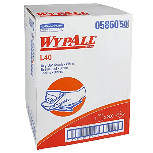 """Price comparison product image WypAll L40 Disposable Cleaning and Drying Towels """"DRY-UP"""" Towels (05860),  Limited Use Towels,  White,  1 Roll / Box,  200 Towels"""