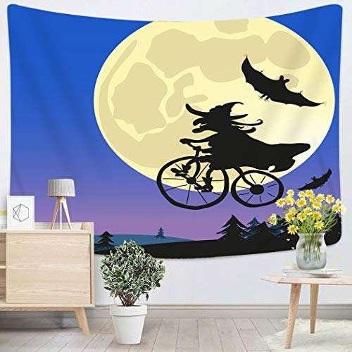 Houlor Tapestry Wall Hanging Bicycling Old Witch Flying