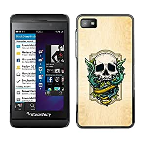 Plastic Shell Protective Case Cover || Blackberry Z10 || Wings Green Skull White Wood Texture @XPTECH