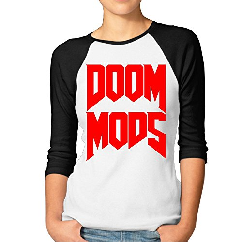 Price comparison product image LBGN Women's 3 / 4 Sleeve 100% Cotton Baseball DOOM MODS T-Shirt Sport Black M