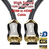 SAG - HDMI Cable (4K HD HDMI 2.0 Ready) - Braided Cord - Ultra High Speed 18Gbps - Gold Plated Connectors - Ethernet & Audio Return - Video 4K 2160p HD 1080p 3D - compatible with Xbox PlayStation PS3 PS4 PC (2 M)