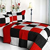 [Poker King] 3PC Vermicelli-Quilted Patchwork Quilt Set (Full/Queen Size)