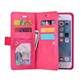 Sammid 2017 Galaxy S8 Case, 5.8 inch Multi-Function Hand Strap Premium Leather Zipper PU Leather Phone Case with Card Slot Protective Stand Case for Galaxy S8 - Hot Pink