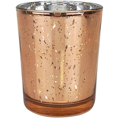 Just Artifacts (Bulk) Mercury Glass Votive Candle Holder 2.75''H (100pcs, Speckled Rose Gold) - Mercury Glass Votive Tealight Candle Holders for Weddings, Parties and Home Décor