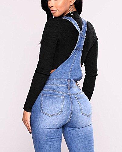 Bleu Salopette Slim Jeans Denim Femmes Jumpsuit Manches Fit Clair Strap Dungarees sans avIOw0q