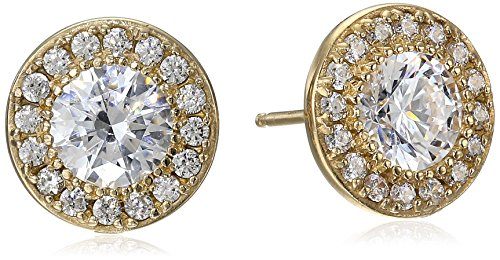 Yellow Gold Plated Sterling Silver Halo Stud Earrings set with Round Cut Swarovski Zirconia (.48 cttw)