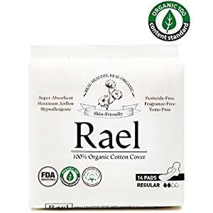 Rael 100% Organic Cotton Menstrual Regular Pads - Ultra Thin Natural Sanitary Napkins With Wings