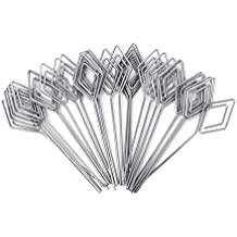 Honbay 30pcs DIY Rhombus Shape Ring Loop Craft Wire Clip Table Card Note Photo Memo Holder Metal Clamp Clay Cake Decoration Accessories (Silver)