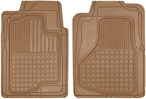 Motor Trend MT-150-BG 2 Front All Weather Custom Heavy Duty Rubber Floor Mats for Auto Car Truck SUV, Beige