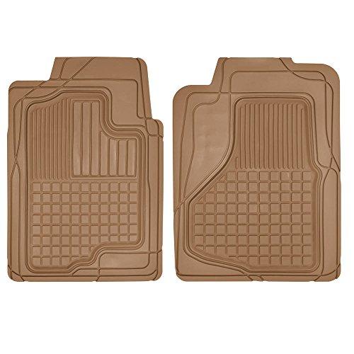(Motor Trend MT-150-BG 2 Front Weather Semi-Custom Heavy Duty Rubber Floor Mats for Auto Car Truck SUV-Beige)
