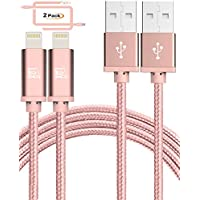 LAX Gadgets Apple MFi Certified Braided Lightning Charger Cord 10 Feet for Apple Devices – Rose Gold