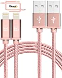 iPhone Charger 10 ft Apple Certified - Durable Braided Long Lightning Cable Compatible with iPhone X/ 8/8 Plus/ 7/7 Plus/IPad Pro [2-Pack, 10-Ft Rose Gold]