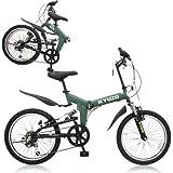 KYUZO 20インチ 折りたたみ自転車 シマノ純正6段変速にZOOM製フロントサス、リアサスを搭載した自転車の九蔵別注MTB! KZ-100 (マットグリーン)
