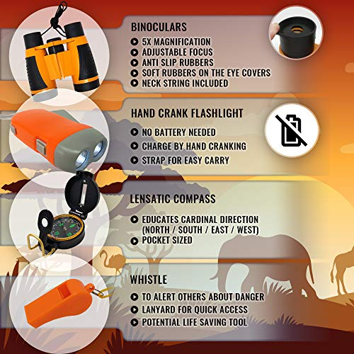 WhizBuilders Kids Explorer Kit : Outdoor Binoculars , Animal Figurines , Hand Crank Flashlight , Safari Boonie Hat , Camping Gear , Magnifying Glass , Compass , Educational Toddler Toys for Kids