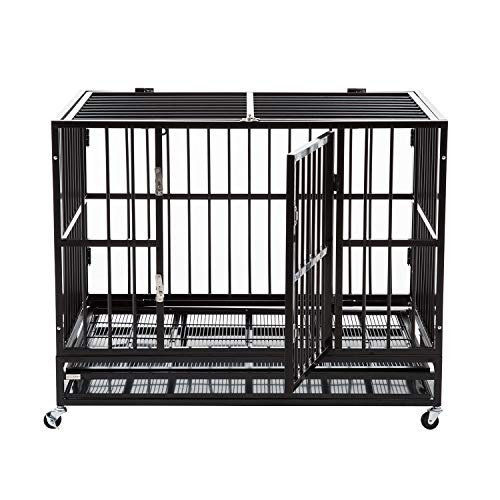 "Sliverylake XXL 42"" Dog Crate Kennel -Heavy Duty Pet Cage Playpen w/ Metal Tray Exercise Pan"