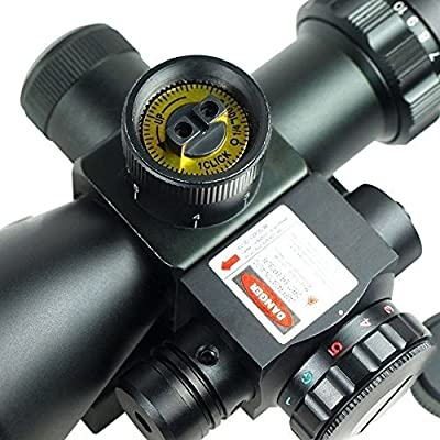 ADF Rifle Scope Red Dot Tactical 2.5-10x40 Red Laser Dual Illuminated Mil-dot w/ Rail Mount