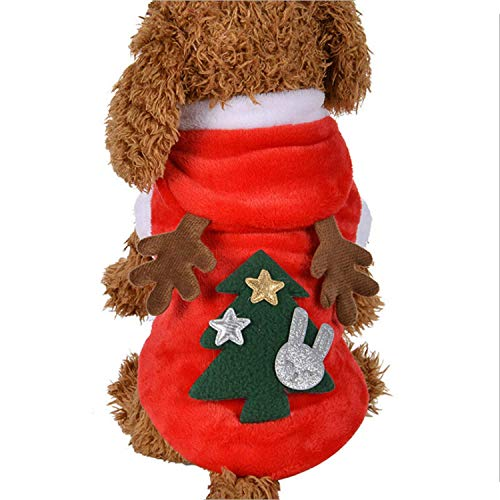fogohill Fashion Cute Elk Dog Costume Sweater Fleece Hooded Coats Vest Jacket Warm Pet Clothes Red Medium ()