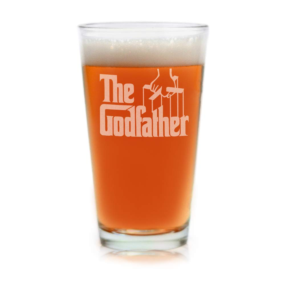 Movies on Glass - The Godfather Movie Engraved Logo Pint Glass 16 Ounces