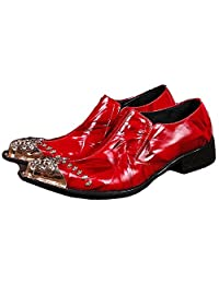US Size 5-12 New Red Leather Steel Toe Slip On Mens Dress Formal Loafers Shoes
