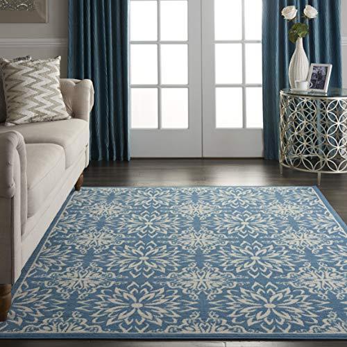 Nourison JUB06 Jubilant Transitional Floral Ivory/Blue Area Rug 6′ x 9′