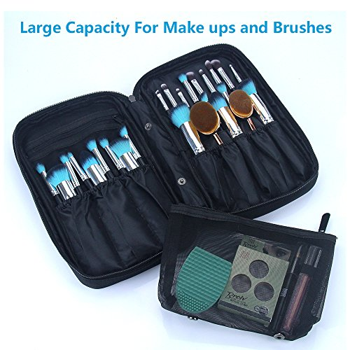 MONSTINA Professional Cosmetic Makeup Brush Organizer Makeup Artist Case with Belt Strap Holder Cosmetic Makeup Bag Handbag (Black)
