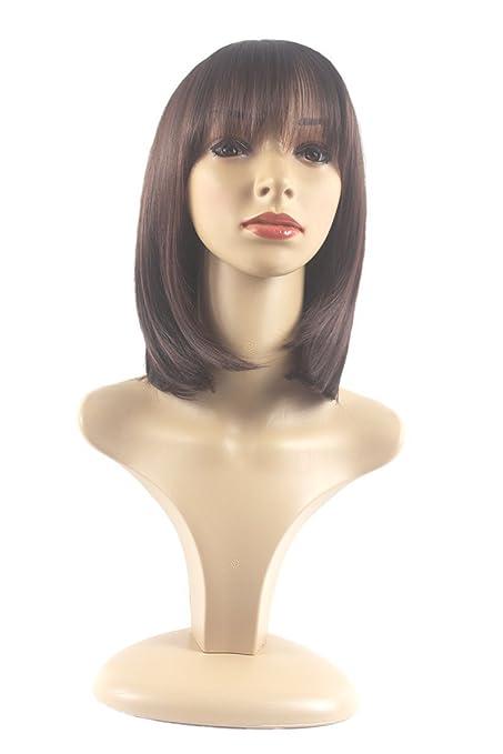Xiaoyu moda corta recta pelucas sintéticas para el cabello de las mujeres - marrón oscuro