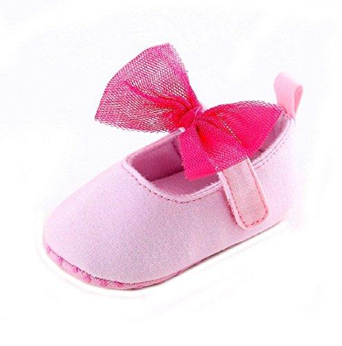Auxma Zapatos de bebé Bebé Niña Nudo de arco Cuna Suave Toddler Zapatos Para 0-18 mes Rosa