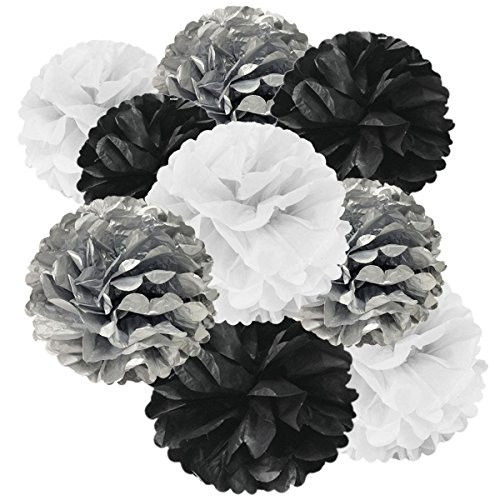AllyDrew Tissue Paper Pom Poms Hanging Party Decoration, Black, Silver & White, Set of 9