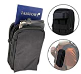 Clakit XL StrapPack Two Zipper Clip-On Pouch (Black), Travel Wallet, Backpack Pouch, Passport Holder