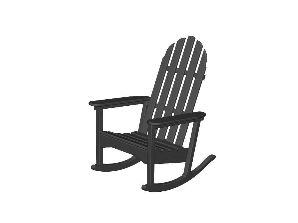 Black rocking chair - Amazon Com Recycled Plastic Adirondack Rocking Chair By Polywood Frame Color Black Patio Lawn Garden