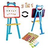 deAO Childrens Art Drawing Doodle Easel 2 in 1 Double Sided Boards Blackboard and Magnetic Whiteboard with Chalk and Magnets