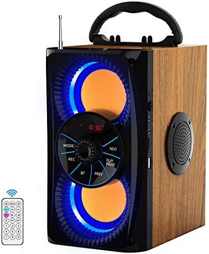 Wi-fi Bluetooth Speaker with lights 10W HD Sound and Bass, Wooden physique, 4 Stereo Loud, Moveable Report Audio system for House, Celebration, Outside, Journey, Present