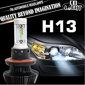 Jiuguang 1 Pair 2pc LED Automobile Headlight Bulbs with Advanced LED Chip and All-in-One Conversion kit PHILIPS ZES chip 2rd Generation/12000LM/6500K 3 Year Warranty (H13)