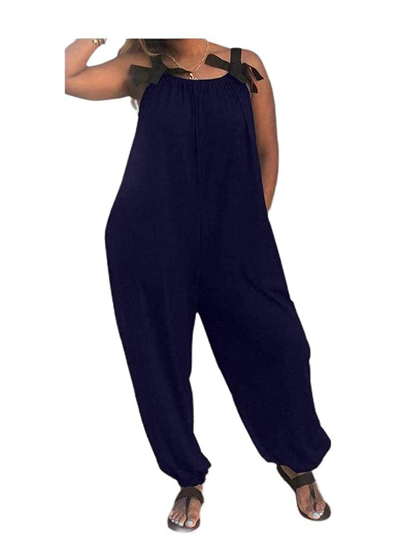 Tralounry Womens Solid-Colored Sling Bowknot Loose Overall Cami Jumpsuit