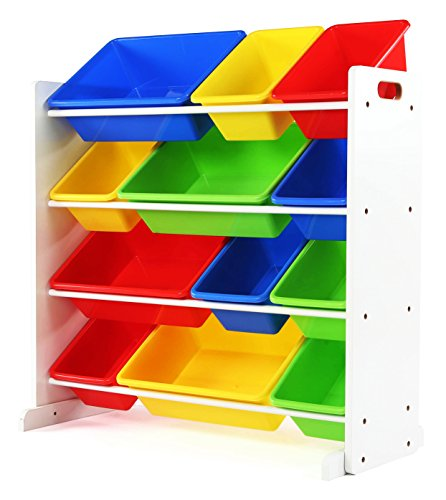 Tot Tutors Kids' Toy Storage Organizer with 12 Plastic Bins, White/Primary (Summit Collection)