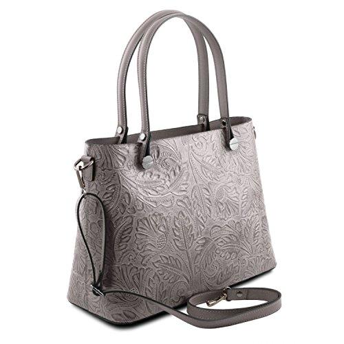 Tuscany Leather Atena Borsa shopping in pelle Ruga stampa floreale - TL141655 (Nude) Grigio