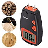 Jiusion Wood Moisture Meter Lumber Water Moisture Tester Digital Damp Detector with HD Large LCD Display, 9V Battery and 4 Spare Sensor Pins, for Measuring Firewood Furniture Floor Trees