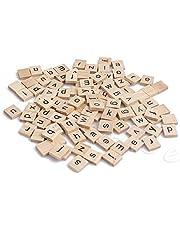 Poity Wooden Square Alphabet Letters Black Letters for Crafts Wood Scrabble Tiles 100 Pieces
