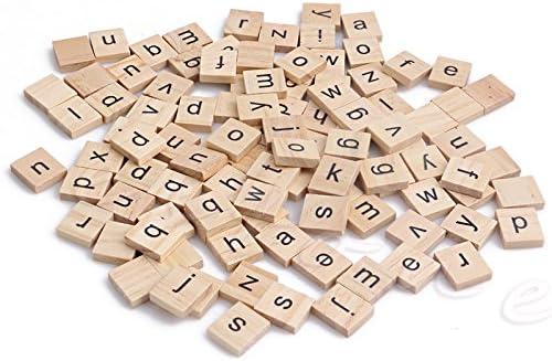 Lamdoo Letras cuadradas de madera para alfabeto, azulejos de Scrabble, letras negras para manualidades, madera, 100 piezas: Amazon.es: Hogar