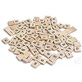 #9: LANDUM Wooden Square Alphabet Letters Black Letters for Crafts Wood Scrabble Tiles 100 Pieces