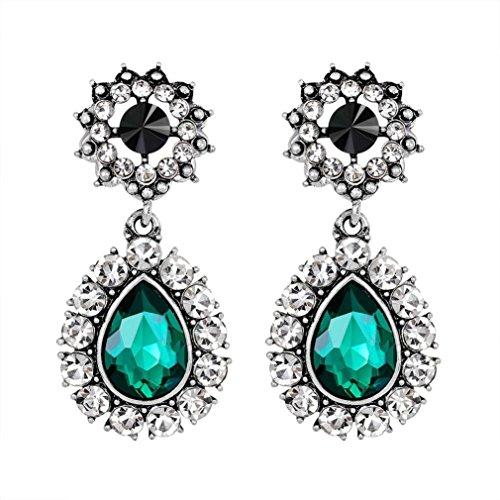 (Yeefant 1 Pair Teardrop Shaped Diamond Encrusted Love Heart Jewelry Earrings for Woman,Green)