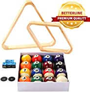 BETTERLINE Billiard Balls Set, Pool Table Triangle Ball Rack and 9-Ball Diamond Rack (Wood), 5 Cue Chalks and