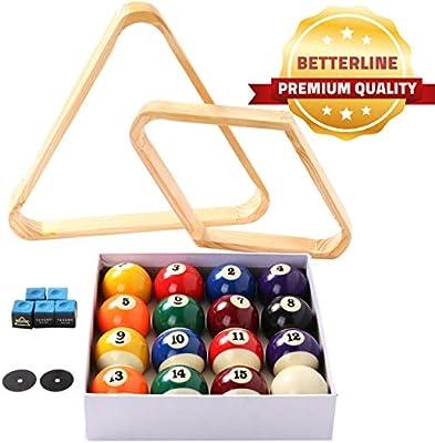 BETTERLINE - Juego de Bolas de Billar para Mesa de Piscina, triángulo, Bola y Estante de Diamante