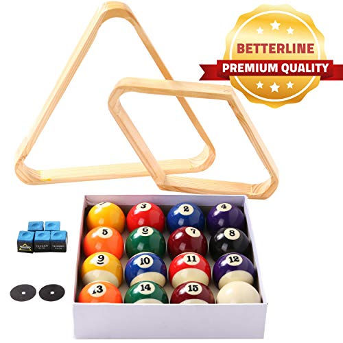 BETTERLINE Billiard Balls Set, Pool Table Triangle Ball Rack and 9-Ball Diamond Rack (Wood), 5 Cue Chalks and 2 Table Spot Stickers - Pool Table Accessories ()