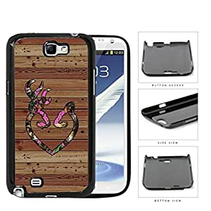 Pink HEART Deer Buck Browning Camo Oak BROWN Color Wood #9 Samsung Galaxy Note II 2 N7100 Hard Snap on Plastic Cell Phone Case Cover