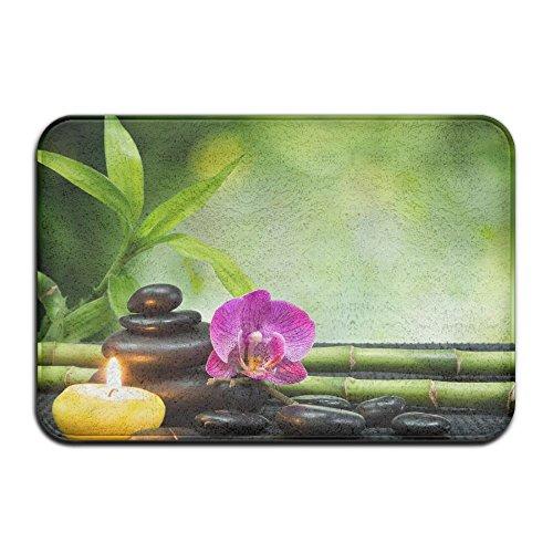 Asian Zen Garden Orchid Candle Stone Bamboo Zen Bath Mat - 1 Piece Memory Foam Shower Spa Rug 18X36 Bathroom Kitchen Floor Carpet Home Decor With Non Slip Backing - 3 Sizes