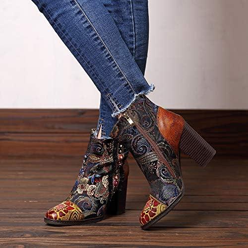 Yhjmdp Frauen Vintage Stiefel Geprägte Leder Stiefel Frauen Schuhe Zipper High Heels Stiefeletten,Braun,39